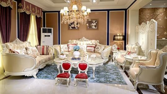 Elegant Classic French Furniture / French Style Living Room Furniture Leather Sofa Set