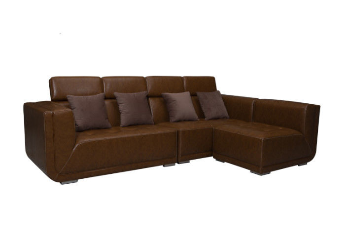Classic Living Spaces Leather Sofa Steady Structure And Plastic Legs