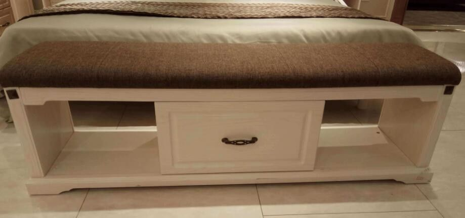 Melamine Upholstered Storage Bench / Bedroom Bench Seat With Drawers