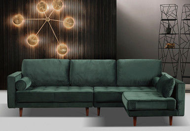 Simple Velvet Sofa Bed Recycle Foam Filling Solid Wood Frame Solid Wood Legs