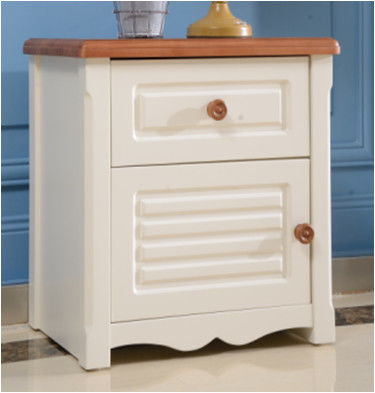 Simple Panel Single Bed Nightstand With Drawers / Kids Bedroom Furniture